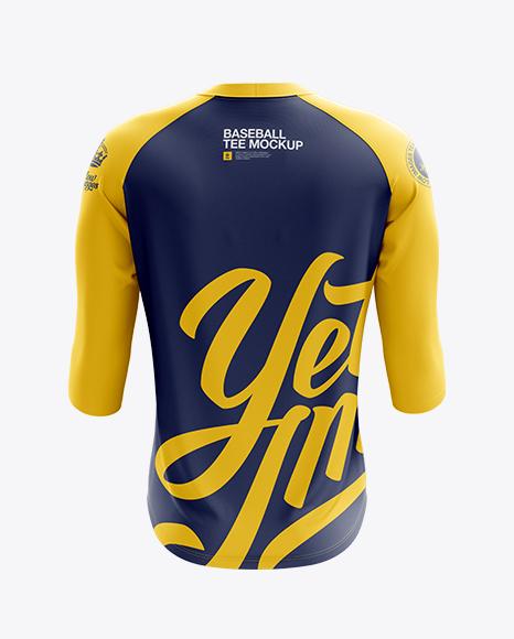 Download Mens Raglan 34 Length Sleeve T Shirt Mockup Front View Yellow Images