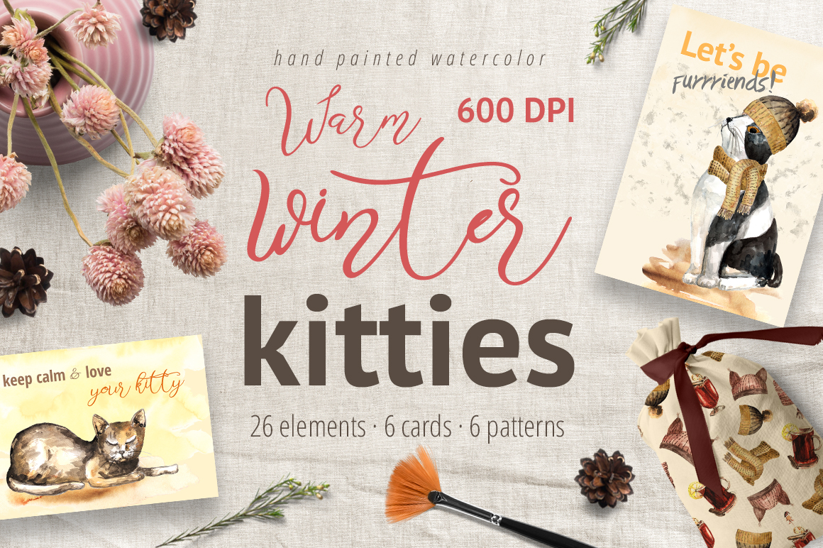 Warm Winter Kitties - watercolor clipart