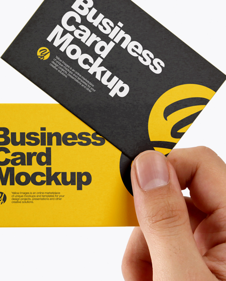Business Cards in a Hand Mockup
