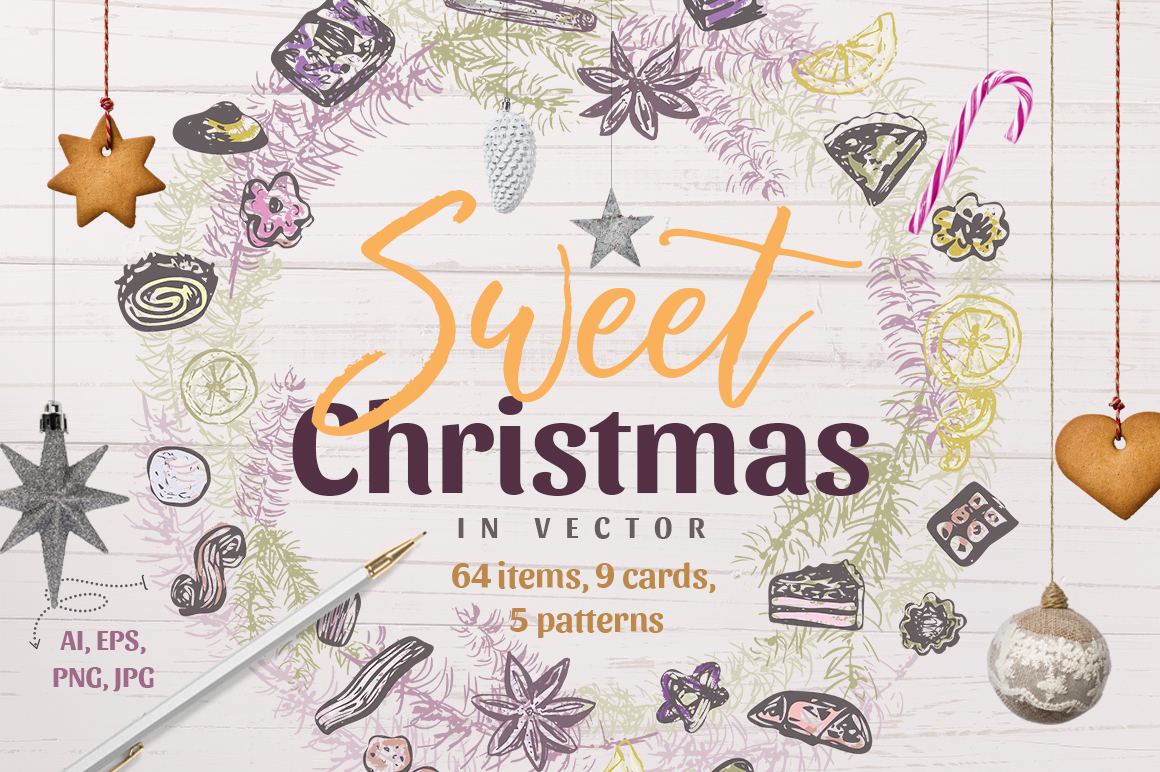 Sweet Christmas Vector Collection In Design Elements On Yellow Images Creative Store