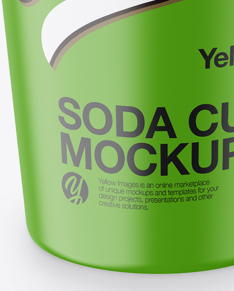 Matte Soda Cup With Straw Mockup -  High-Angle Shot