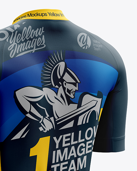 Men's Cycling Speed Jersey mockup (Back Half Side View)