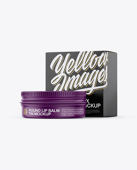 Matte Lip Balm Tin With Matte Box Mockup - Halfside View