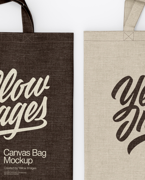 Two Canvas Bags Mockup Top View In Apparel Mockups On Yellow