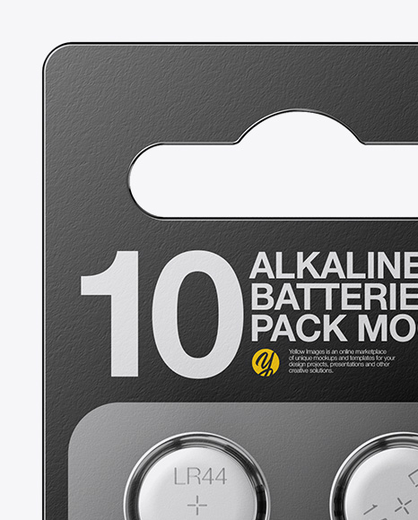 Download Lr44 Button Cells Pack Mockup Front View In Packaging Mockups On Yellow Images Object Mockups PSD Mockup Templates