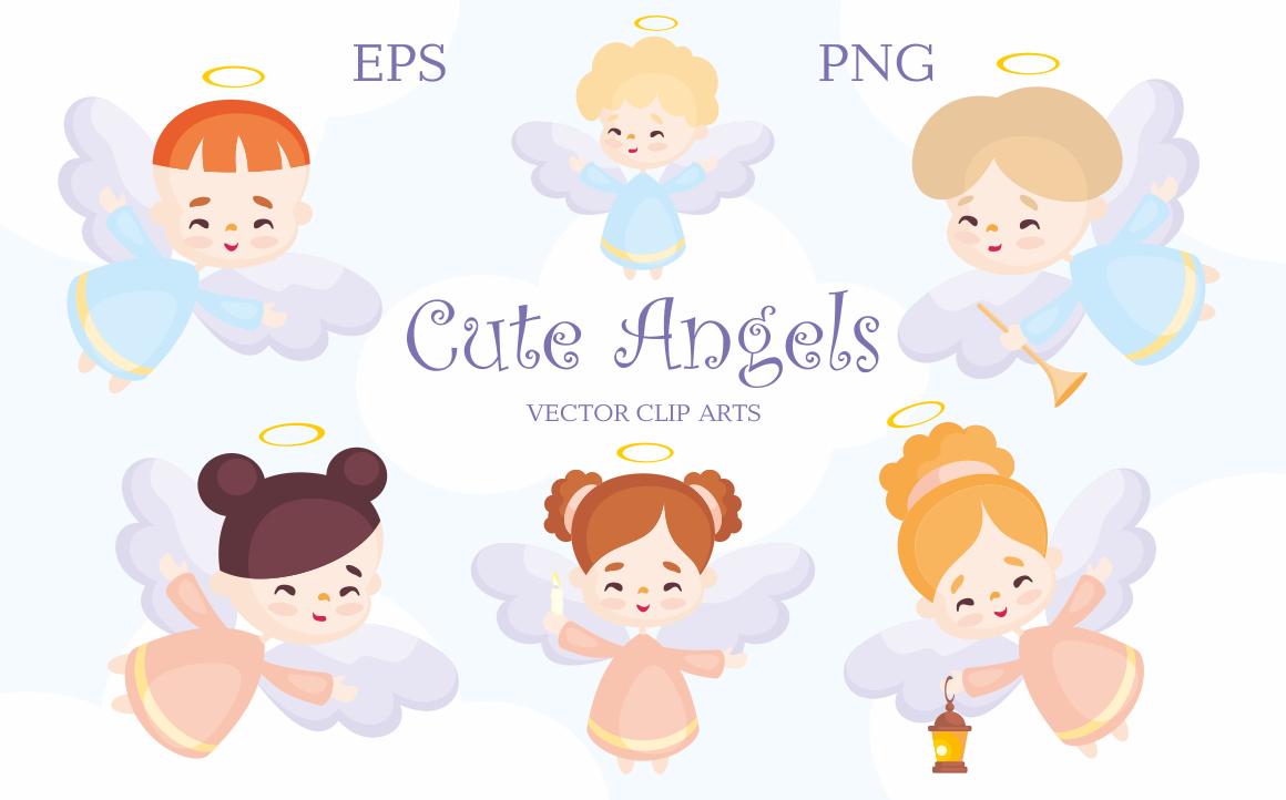 Cute angels. Vector clip arts