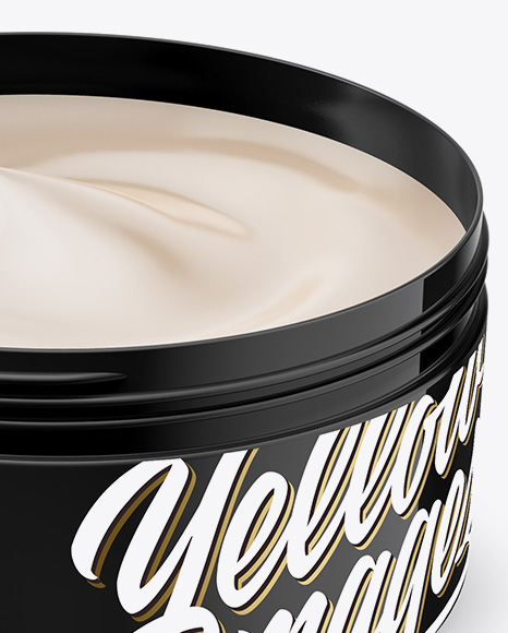 Open Glossy Plastic Cosmetic Jar Mockup - Front View (High Angle Shot)