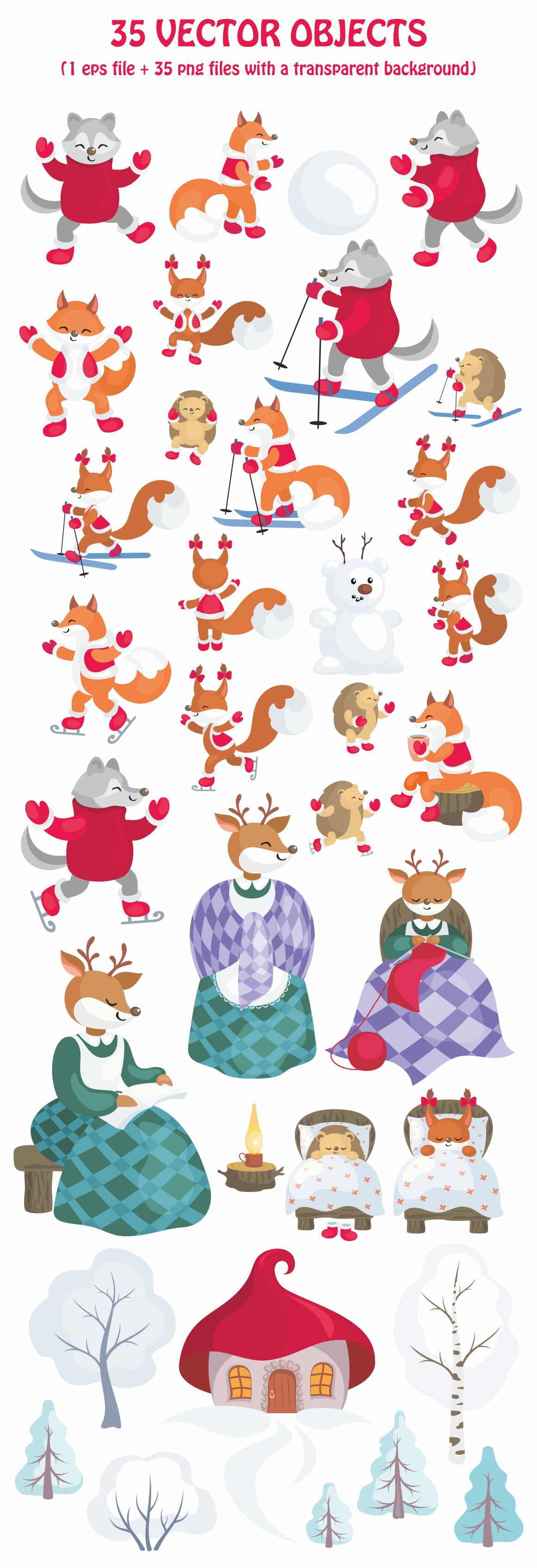Winter Stories. Vector clip art.