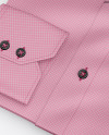 Folded Shirt With Label Mockup - Half Side View (High-Angle Shot)