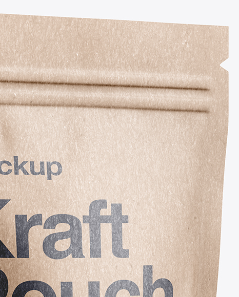 Kraft Stand-Up Pouch Mockup - Half Side View