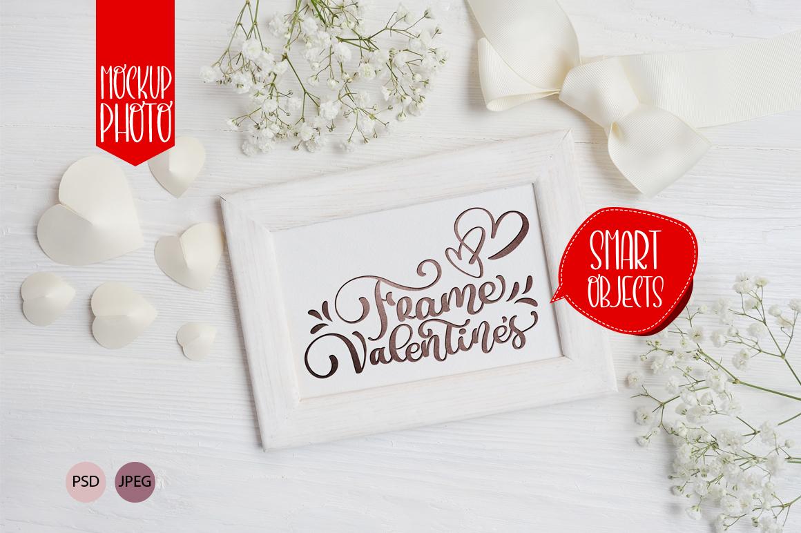 Valentine`s wooden frame mock up
