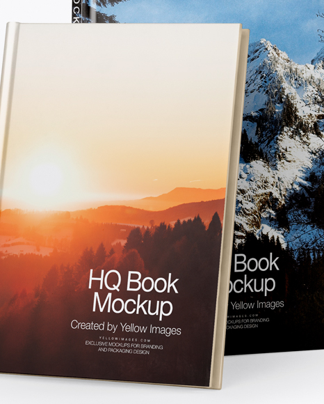 Two Hardcover Books Mockup