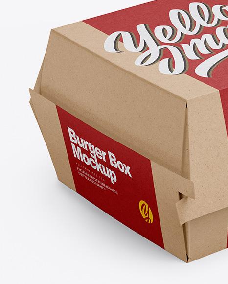 Kraft Burger Box Mockup - Half Side View (High-Angle Shot)
