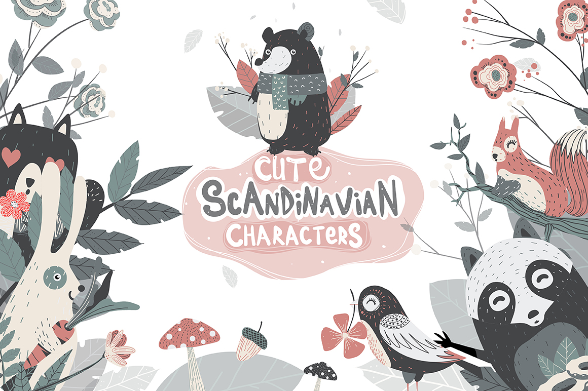 Cute Scandinavian Characters Set