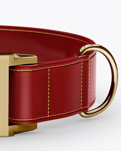 Glossy Dog Collar Mockup - Front View (High-Angle Shot)