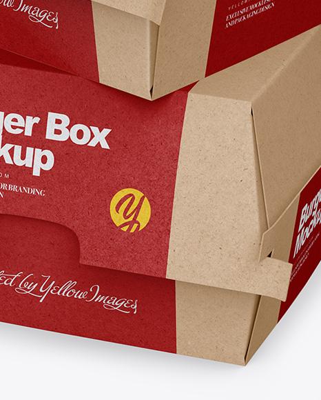 Two Kraft Burger Boxes Mockup - Half Side View