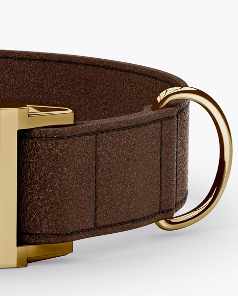 Leather Dog Collar Mockup - Front View (High-Angle Shot)