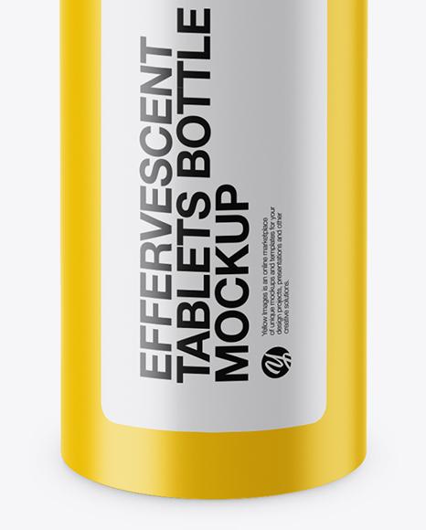 Matte Effervescent Tablets Bottle Mockup (High-Angle Shot)