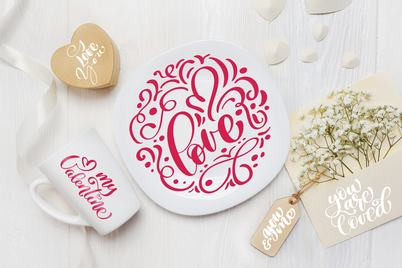 Valentine's Day lettering photo overlays