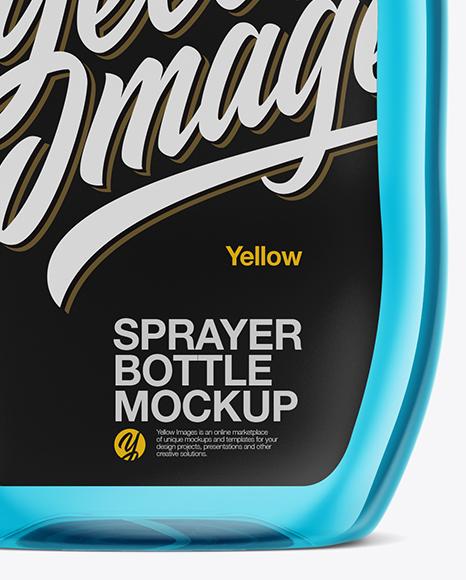 Transparent Plastic Bottle W/ Trigger Sprayer Mockup