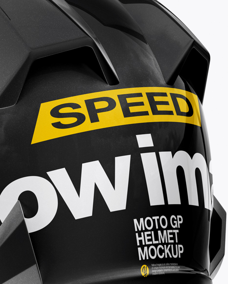 Moto GP Helmet Mockup - Back Half Side View