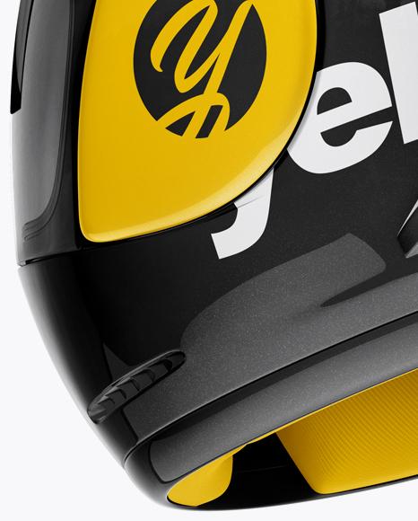Moto GP Helmet Mockup - Back Half Side View