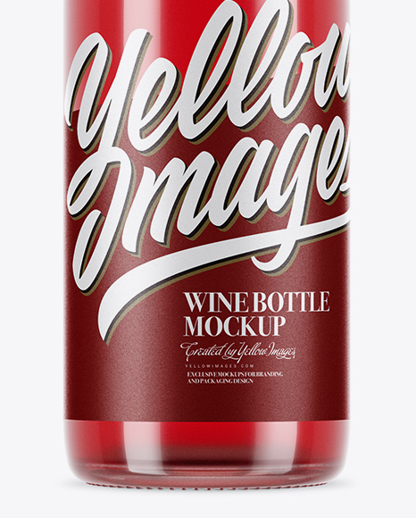 750ml Clear Glass Pink Wine Bottle Mockup