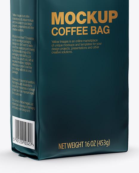 Matte Coffee Bag with Valve Mockup - Half Side View
