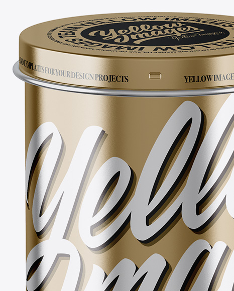 Metallic Tin Can Box Mockup - Front View (High Angle Shot)