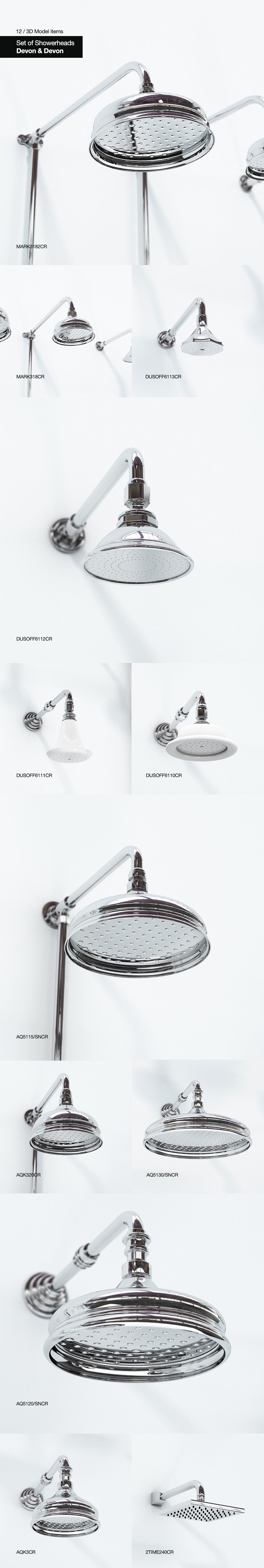 12 Showerheads Devon&Devon
