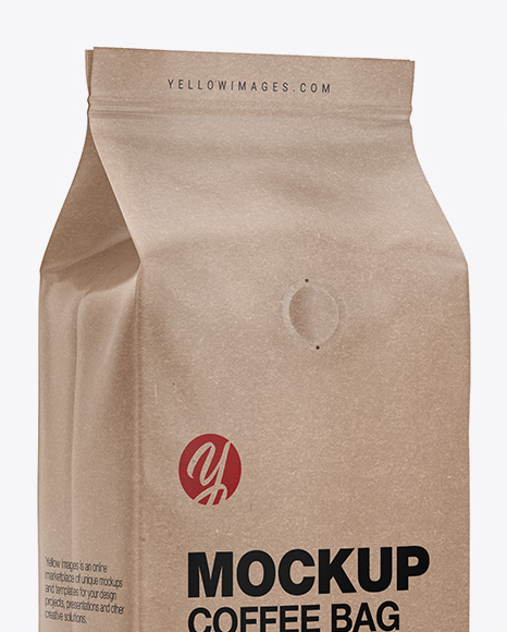Download Kraft Coffee Bag With Valve Mockup Half Side View In Bag Sack Mockups On Yellow Images Object Mockups PSD Mockup Templates