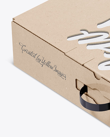 Download Carton Kraft Box Half Side View PSD - Free PSD Mockup Templates