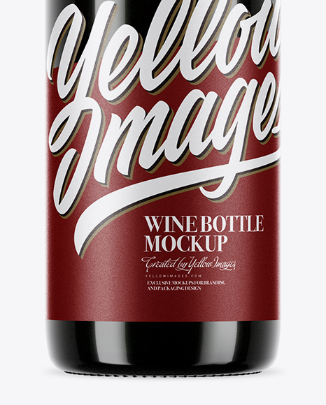 750ml Green Glass Bottle With Red Wine Mockup