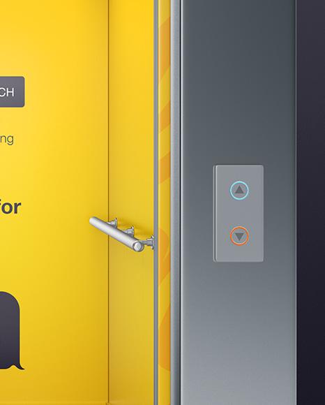 Elevator With Opened Doors Mockup