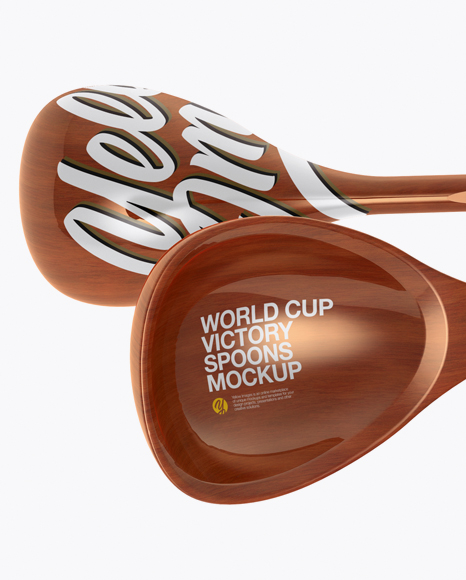 Wooden World Cup Victory Spoons Mockup - Half Side View (High-Angle Shot)