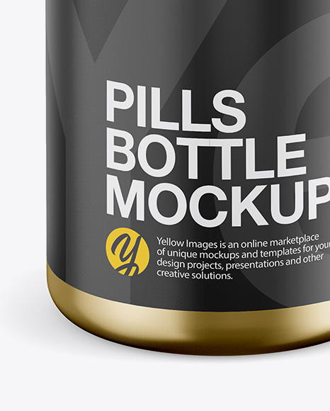 Metallic Pills Bottle Mockup - Front View (High-Angle Shot)
