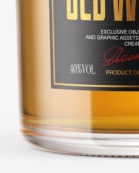 Single Malt Whisky Bottle with Wooden Cap Mockup