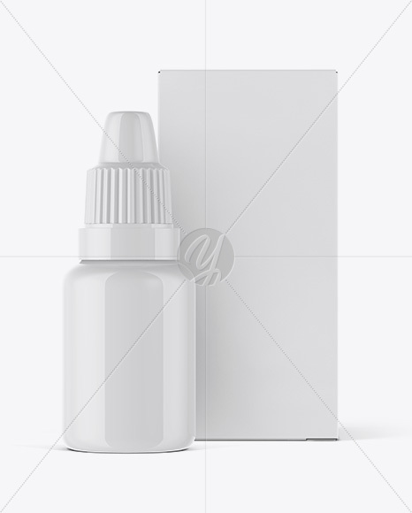 Glossy Dropper Bottle And Paper Box Mockup