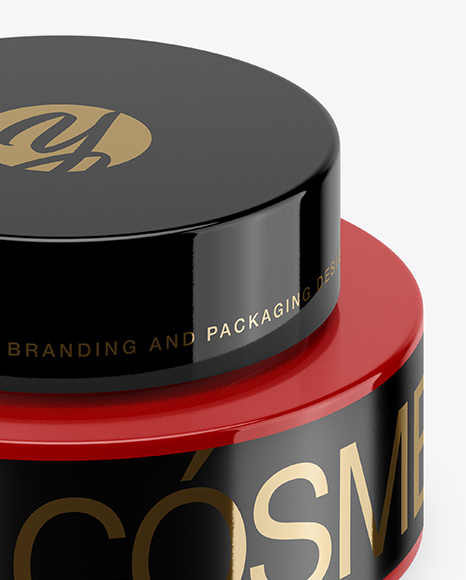 50ml Glossy Plastic Cosmetic Jar Mockup (High-Angle Shot)