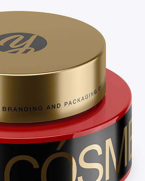 50ml Glossy Plastic Cosmetic Jar Mockup (High-Angle Shot)