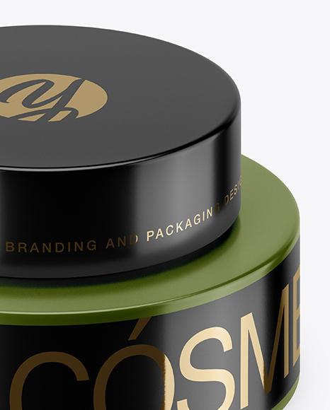 50ml Matte Plastic Cosmetic Jar Mockup (High-Angle Shot)