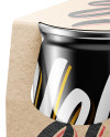 Kraft Carrier W/ 4 Glossy Cans Mockup - Half Side View (High-Angle Shot)