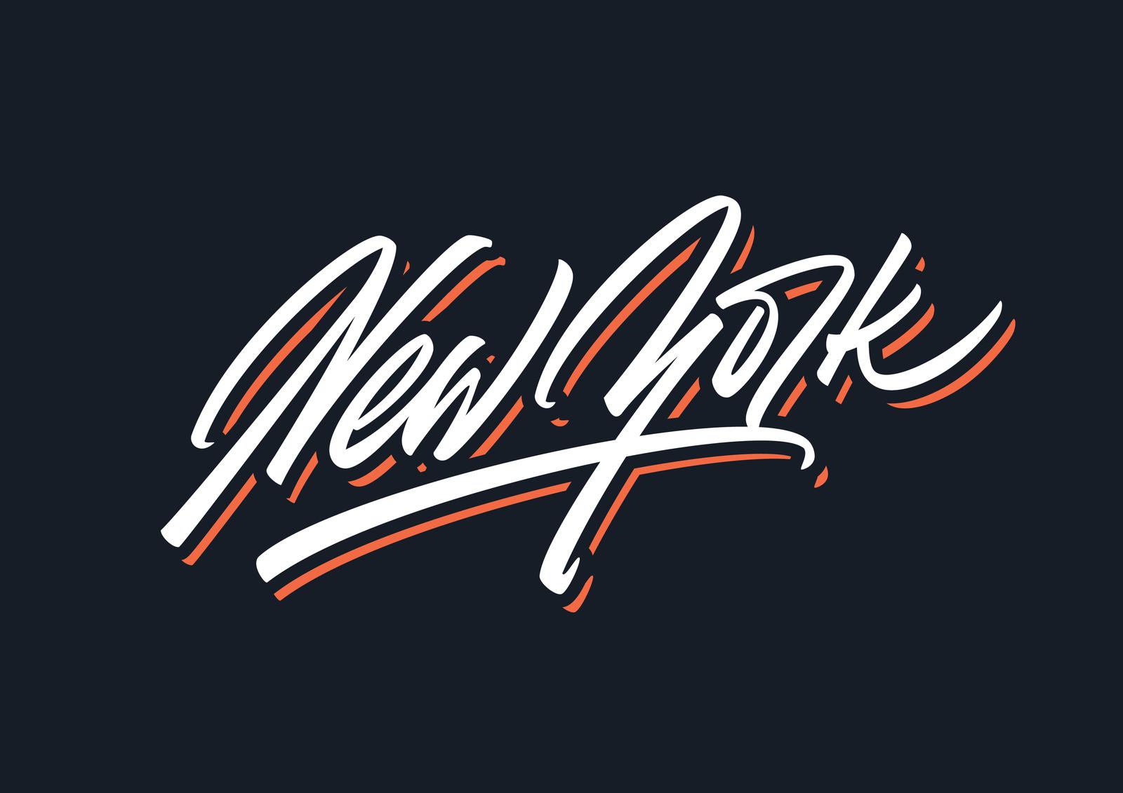 New York brush script vector lettering