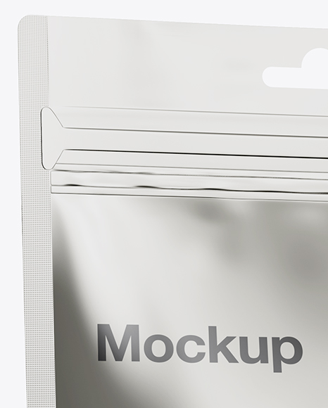 Metallic Stand-Up Pouch Mockup - Half Side View