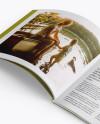 Opened Magazine Mockup - Half Side View