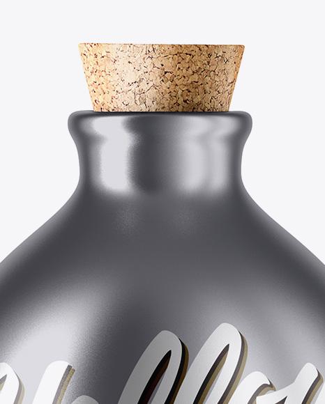 Matte Metallic Bottle With Cork Mockup
