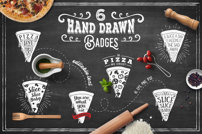 6 Hand Drawn Pizza Slice Badges