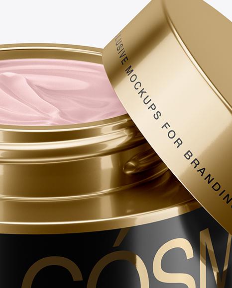 50ml Opened Metallic Cream Jar Mockup (High-Angle Shot)