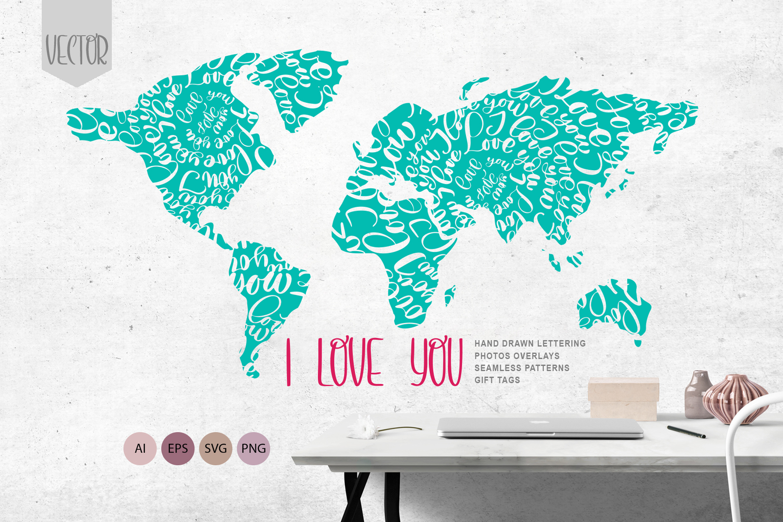Valentines «I Love You» Vector Photo Overlay Collection