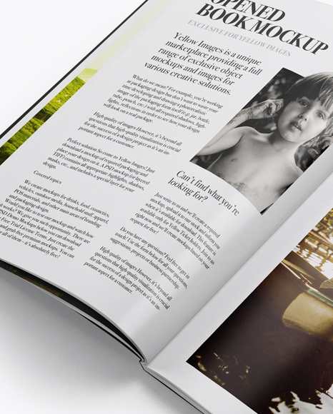 Opened Softcover Book Mockup - Half Side View
